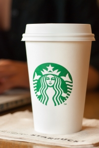 SCARSDALE, NY - SEPTEMBER 15, 2013: A tall Starbucks coffee in f