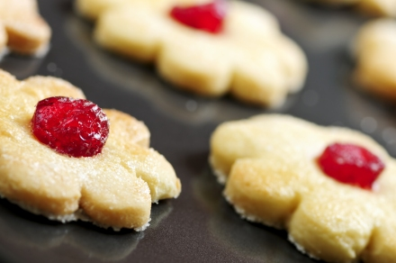 Fresh shortbread cookies on a baking tray
