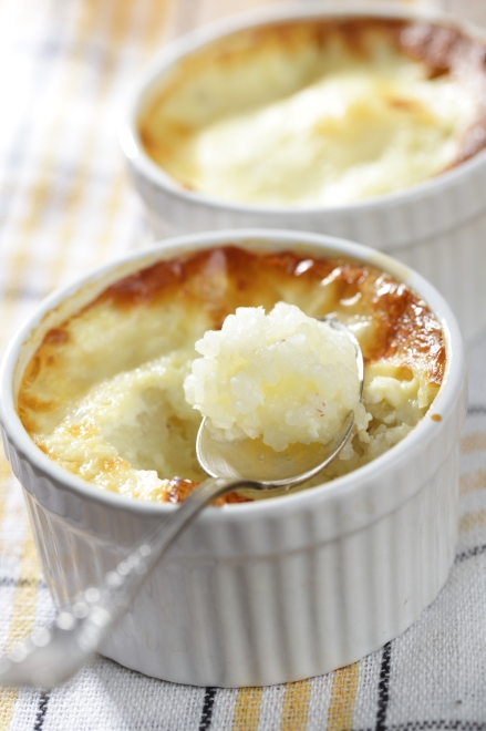 Rice pudding in the ramekin closeup